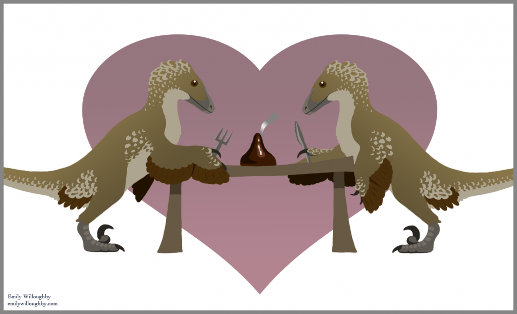 Dinosaurs dining on a chocolate kiss - image (c) Emily Willoughby, used with permission.