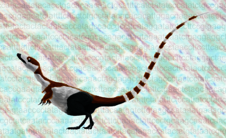 Symbols of the new paleontological revolution: an eye-catching Sinosauropteryx crouches on top of mammoth DNA, overlain on a thin-section of dinosaur bone.