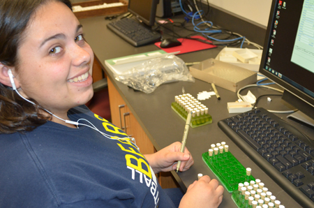 Melissa is one of several UC Berkeley undergrads helping to catalog the Crystal Cave site.